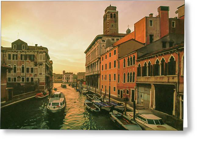 Italian Landscapes Mixed Media Greeting Cards - Sunrise in Venice Greeting Card by Cliff Wassmann