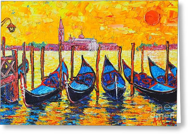 White Paintings Greeting Cards - Sunrise In Venice Italy Gondolas And San Giorgio Maggiore Greeting Card by Ana Maria Edulescu