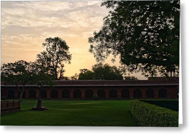 Green Burgandy Greeting Cards - Sunrise Inside Taj Mahal Comples Greeting Card by Linda Phelps