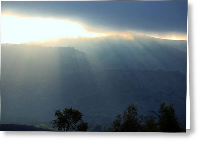 Sunrise Over California Greeting Cards - Sunrise into Fog Blue Hue Greeting Card by Linda Brody