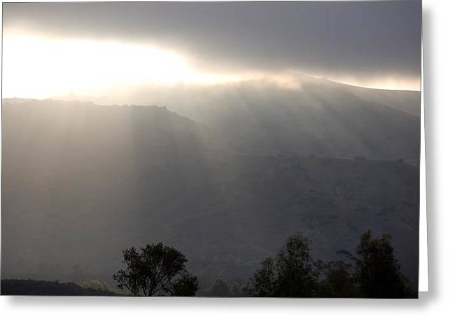 Sunrise Over California Greeting Cards - Sunrise into Fog Greeting Card by Linda Brody