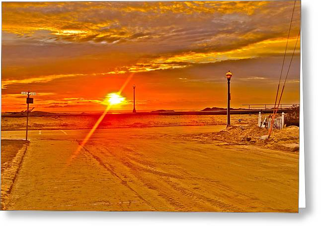 Jerseyshore Greeting Cards - Sunrise Greeting Card by Joe  Burns