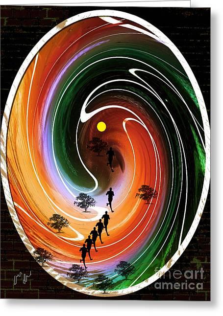 Sunrise Joggers  Greeting Card by Ann Calvo
