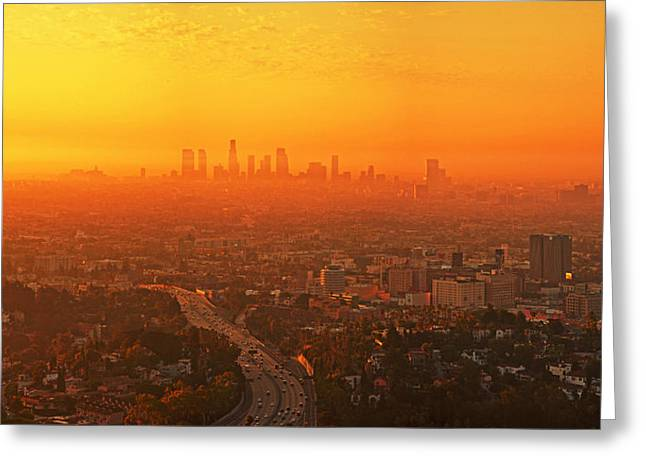 Usa Pyrography Greeting Cards - Sunrise L.A. Greeting Card by Steffen Schumann