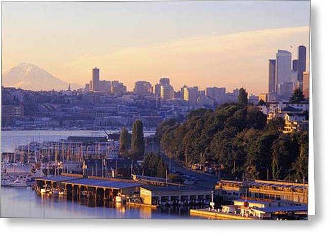 Lake Union Greeting Cards - Sunrise, Lake Union, Seattle Greeting Card by Panoramic Images
