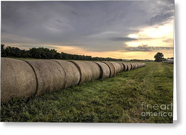 Wheat Field Sunset Print Greeting Cards - Sunrise Landscape of Large Haystacks on a Farm Greeting Card by Brandon Alms