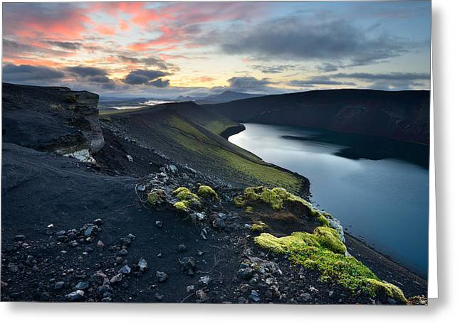 Crater Lake Twilight Greeting Cards - Sunrise landscape with Veidivotn Lake in Iceland Greeting Card by Yevgen Timashov
