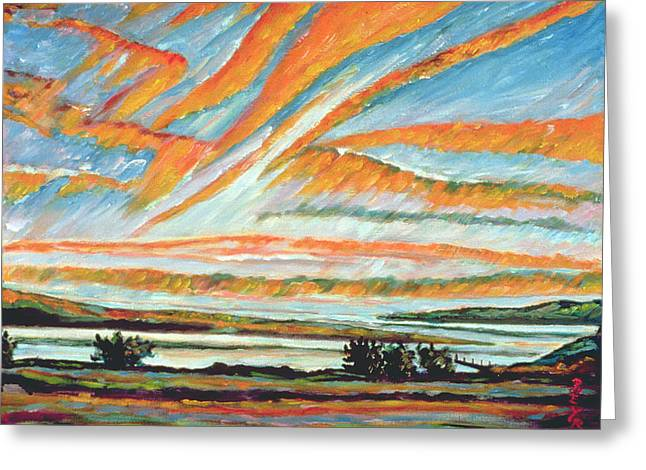 Quebec Paintings Greeting Cards - Sunrise Les Eboulements Quebec Greeting Card by Patricia Eyre