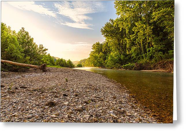 Arkansas Greeting Cards - Sunrise Light On Buffalo RIver Greeting Card by Bill Tiepelman