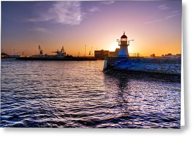 Sweden Greeting Cards - Lighthouse Silhouette Greeting Card by EXparte SE