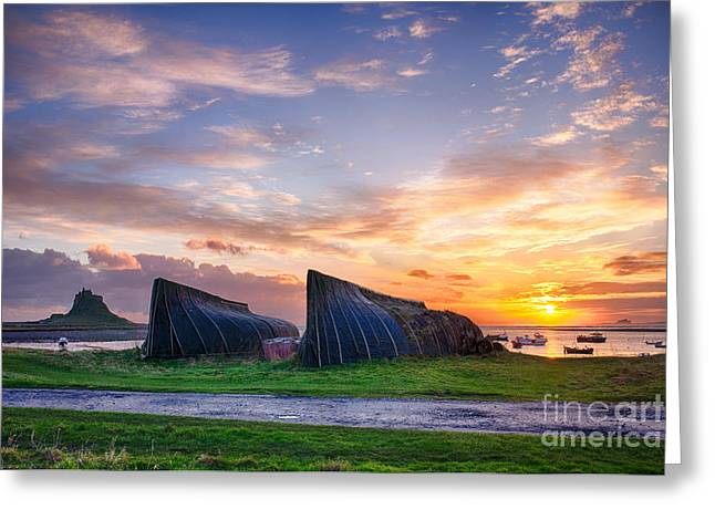 Shed Photographs Greeting Cards - Sunrise Lindisfarne HDR Greeting Card by Tim Gainey