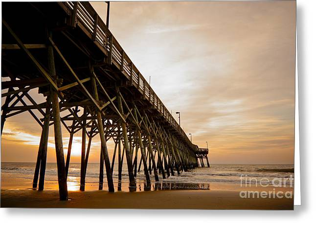 Ocean. Reflection Greeting Cards - Sunrise Lines Greeting Card by Matthew Trudeau