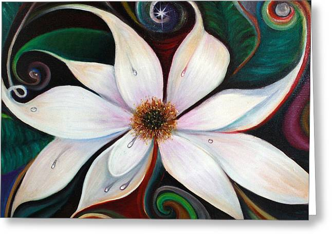 Viridian Greeting Cards - Sunrise Magnolias Greeting Card by Averi Wolff