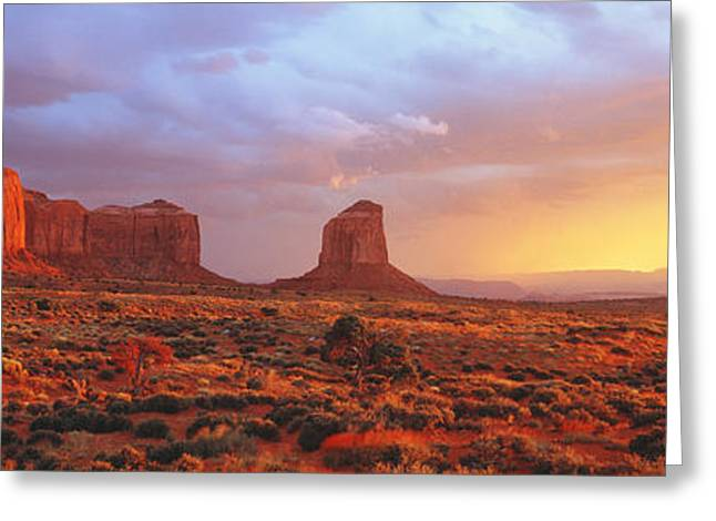Navajo Tribal Park Greeting Cards - Sunrise, Monument Valley, Arizona, Usa Greeting Card by Panoramic Images