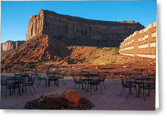 Table Mesa Greeting Cards - Sunrise Monument Valley at the Navajo Tribal Park Hotel Utah Greeting Card by Robert Ford