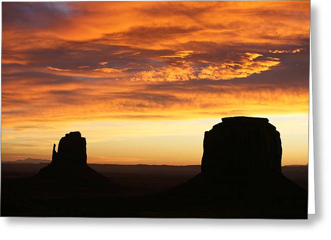 The Western Hotel Greeting Cards - Sunrise Monument Valley Greeting Card by Cheryl Birkhead