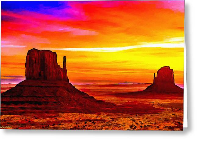 Hematite Greeting Cards - Sunrise Monument Valley Mittens Greeting Card by  Bob and Nadine Johnston