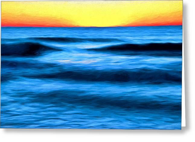 Peaceful Scene Greeting Cards - Sunrise Myrtle Beach on a Winters Day Digital Art Greeting Card by Vizual Studio