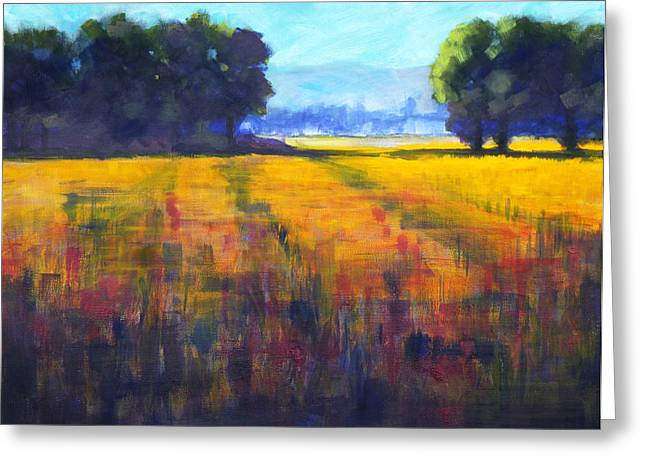 Horizontal Abstract Landscape Greeting Cards - Sunrise Greeting Card by Nancy Merkle