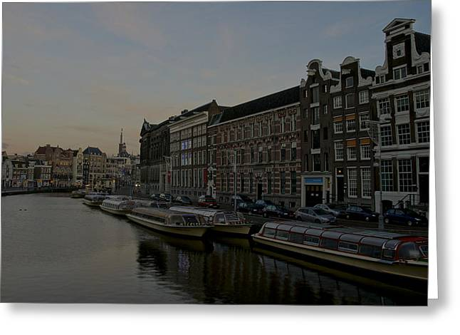 Old Street Greeting Cards - Sunrise Near the Tulip Market in Amsterdam Greeting Card by Brian Kamprath