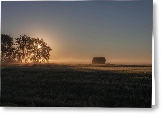 Saskatchewan Photographs Greeting Cards - Sunrise North of Pense Greeting Card by Steve Boyko