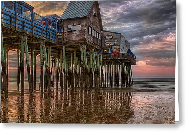 Maine Shore Greeting Cards - Sunrise Old Orchard Beach Greeting Card by Jerry Fornarotto