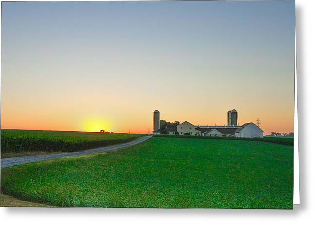 Pennsylvania Barns Greeting Cards - Sunrise on a Lancaster County Farm Greeting Card by Bill Cannon