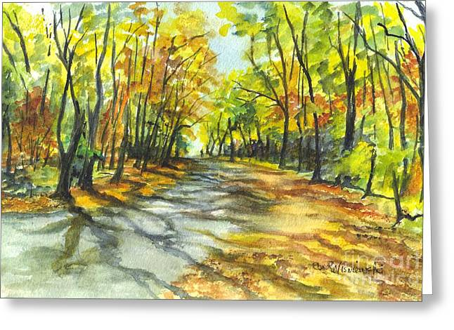 Fall Scenes Drawings Greeting Cards - Sunrise On A Shady Autumn Lane Greeting Card by Carol Wisniewski