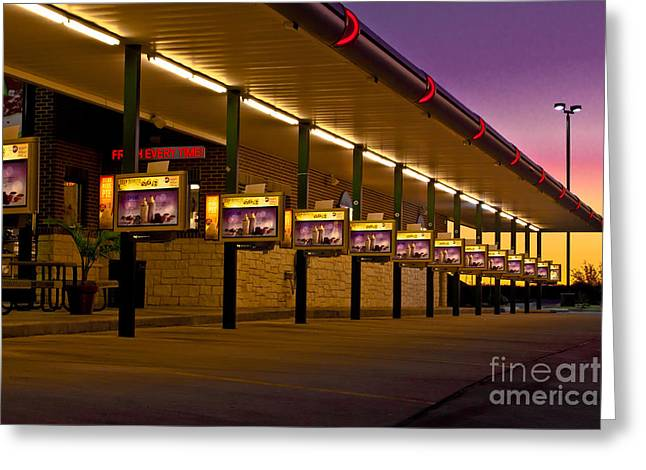 Thru Greeting Cards - Sunrise On Americas Drive-In Greeting Card by Robert Frederick