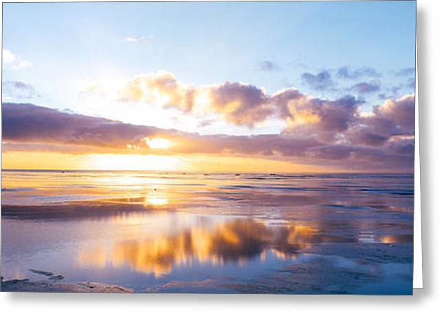 Empty Pool Greeting Cards - Sunrise On Beach, North Sea, Germany Greeting Card by Panoramic Images