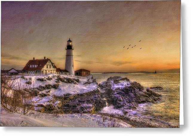 New England Winter Scene Greeting Cards - Sunrise on Cape Elizabeth - Portland Head Light - New England Lighthouses Greeting Card by Joann Vitali