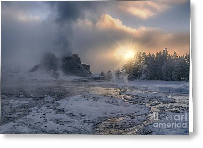 Silica Greeting Cards - Sunrise on Castle Geyser - Yellowstone Greeting Card by Sandra Bronstein
