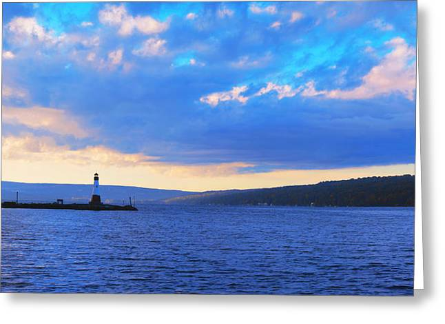Sunrise On Cayuga Lake Ithaca New York Panoramic Photography Greeting Card by Paul Ge