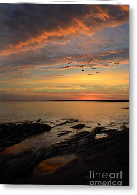 Superior Sunrise Greeting Cards - Sunrise on Lake Superior Greeting Card by Jill Battaglia