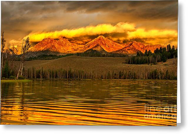 Haybale Photographs Greeting Cards - Sunrise On Little Redfish Lake Greeting Card by Robert Bales