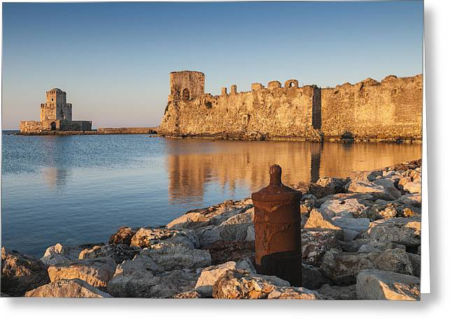 Messenia Greeting Cards - Sunrise on Methoni Fortress Greeting Card by Peter Eastland