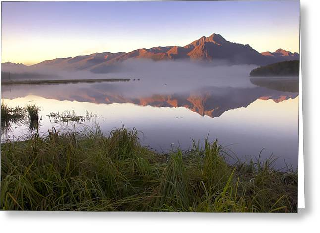 Pioneer Park Greeting Cards - Sunrise On Pioneer Peak With Small Greeting Card by Michael Criss