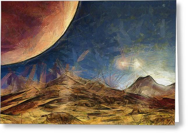 Sunrise on Space Greeting Card by Ayse Deniz