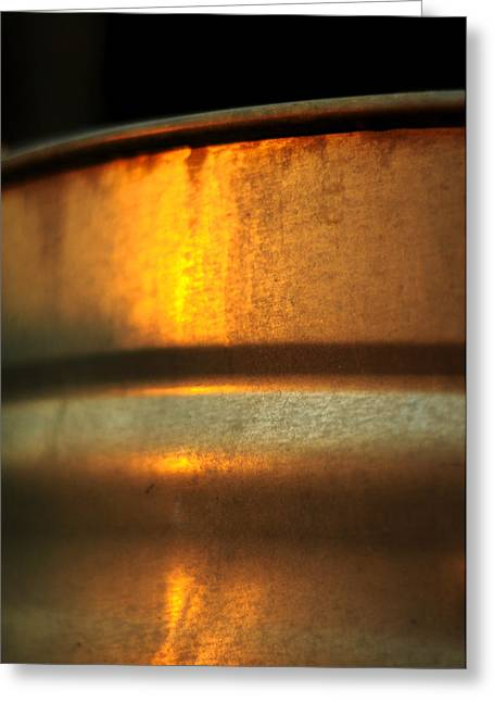 Galvanize Photographs Greeting Cards - Sunrise on Steel Greeting Card by Rebecca Sherman