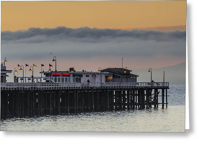Santa Cruz Wharf Greeting Cards - Sunrise on the Bay Greeting Card by Bruce Frye