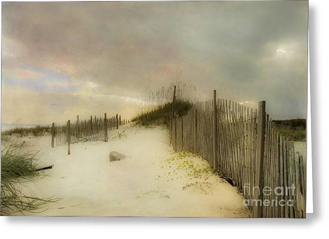 Sand Fences Digital Art Greeting Cards - Sunrise on the Beach Greeting Card by Betty LaRue