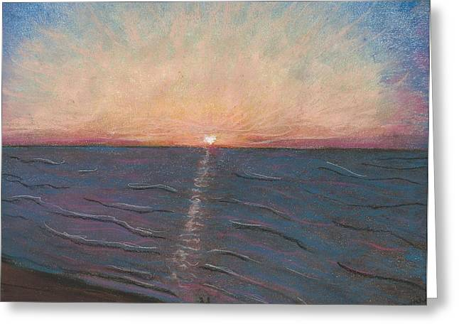 On The Beach Pastels Greeting Cards - Sunrise On The Beach Greeting Card by Jami Cirotti