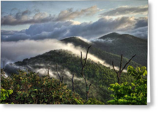 Gatlinburg Tennessee Greeting Cards - Sunrise on the Blue Ridge Parkway with Clouds Greeting Card by Reid Callaway
