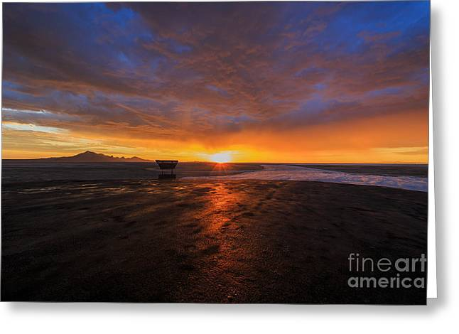 Car Framed Prints Greeting Cards - Sunrise on the Bonneville Salt Flats Greeting Card by Holly Martin