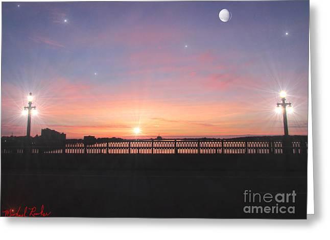 Sunrise On The Bridge Greeting Card by Michael Rucker