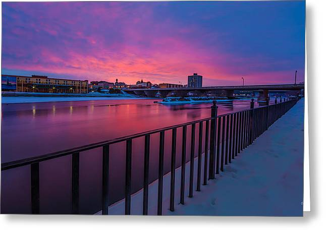 Sunrise. Water Greeting Cards - Sunrise on the Canal Greeting Card by Everet Regal