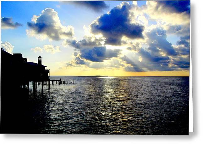 Cedar Key Greeting Cards - Sunrise On the Cedar Key Dock Greeting Card by Sheri McLeroy