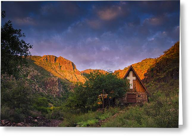 Scout Greeting Cards - Sunrise on the Chapel Greeting Card by Aaron S Bedell