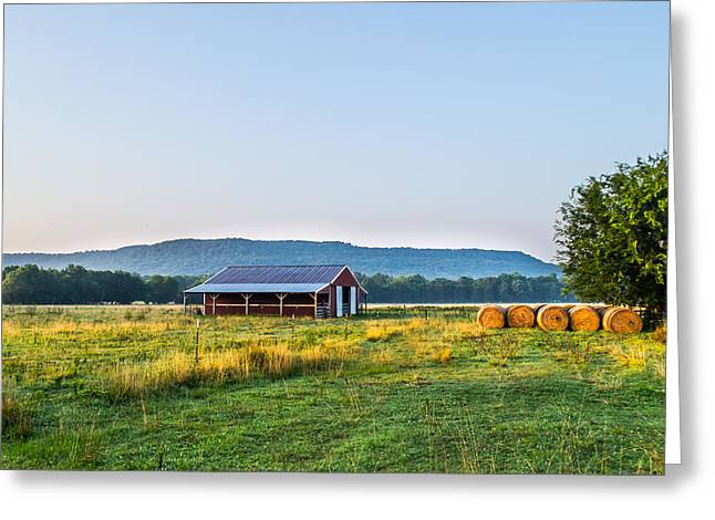 Hay Bales Greeting Cards - Sunrise on the Farm Greeting Card by Shelby  Young