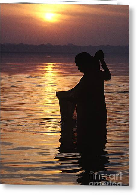 The Ganges Greeting Cards - Sunrise On The Ganges - Varanasi India Greeting Card by Craig Lovell